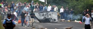 Supporters of Honduran presidential candidate Salvador Nasralla set up a barricade blocking access too the country's capital.