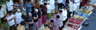 Muslims pray in Surabaya, Indonesia.