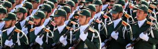 Members of the Islamic Revolutionary Guard Corps are seen on Sept. 22, 2018, in the Iranian capital of Tehran.