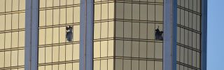 Broken windows at the Mandalay Bay Resort and Casino on Oct. 2, 2017, in Las Vegas, Nevada mark the gunman's perch.