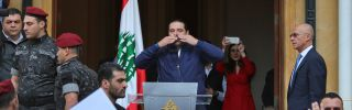 Lebanese Prime Minister Saad al-Hariri greets supporters in Beirut on Nov. 22, 2017.