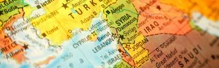 A map shows the Middle East, including Turkey and Israel.