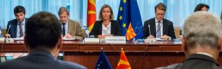 Macedonia is improving relations with its neighbors so it can join the European Union and the North Atlantic Treaty Organization.