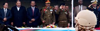 Libyan Defense Minister Abdullah al-Thani at a Libyan army graduation ceremony in Tripoli on Jan. 16.