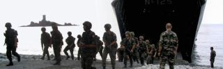 Turkish troops exit a landing ship during a training exercise in France