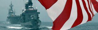 Japan Maritime Self-Defense Force ships off Sagami Bay in Japan's Kanagawa prefecture.