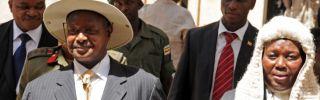 Ugandan President Yoweri Museveni (L) in February 2012