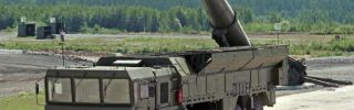 An undated photo shows Russian Iskander missile complex on display