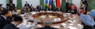 Leaders talk at the BRICS meeting during the G20 summit in 2013 in St. Petersburg, Russia.