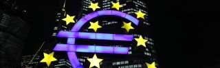 The symbol for the Euro currency sits in front of the European Central Bank's headquarters in Frankfurt, Germany.