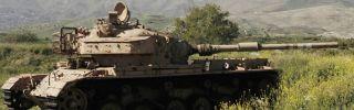 Israeli tanks in the Golan Heights