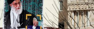 In Tehran, a banner encouraging voter participation depicts Iranian Supreme Leader Ayatollah Ali Khamenei. Moderate, reformist candidates have a chance to perform well in Iran's parliamentary elections Feb. 26.