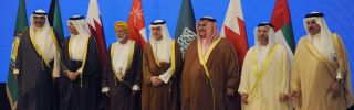 Member of the Gulf Cooperation Council align for a photo opportunity.