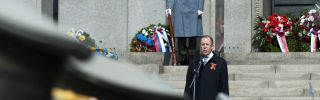 Russian Foreign Minister Sergei Lavrov speaks April 4 at the World War II memorial in Bratislava during a ceremony celebrating the 70th anniversary of the Red Army's liberation of Bratislava from the Nazis.