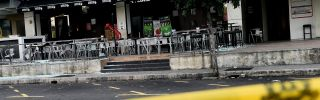 The scene after a hand grenade was thrown at a restaurant in Malaysia's central Selangor state in June 2016.