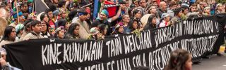 Chile's largest indigenous group, the Mapuches, protest in Santiago on Oct. 12, 2015. The group is working to reclaim land taken from them during the country's military dictatorship.