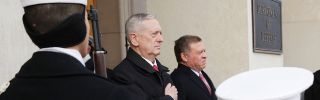 U.S. Secretary of Defense James Mattis (L), with Jordanian King Abdullah in a January ceremony. Mattis is dedicated to continue the fight against terrorism.