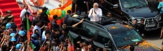 A picturing showing Indian Prime Minister Narendra Modi on the campaign trail in Uttar Pradesh to rally support for his Bharatiya Janata Party ahead of elections in the state, India's most populous.