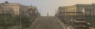 A 1905 postcard showing Odessa's 142-meter (466-foot) Potemkin Stairs, which lead down to the harbor and were completed in 1841. Stratfor analyst Eugene Chausovsky is on the ground in Odessa.