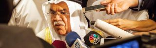Saudi Oil and Mineral Resources Minister Ali al-Naimi (C) speaks to the press ahead of a meeting on Feb. 16 in Doha, Qatar, with Qatari, Venezuelan, and Russian energy ministers that led to an agreement to freeze oil production at current levels.