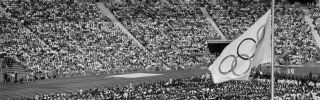 The Olympic flag flying at half-mast in the Olympic Stadium in Munich during the Sept. 6, 1972, memorial service for the Israeli athletes who were killed by terrorists the day before.