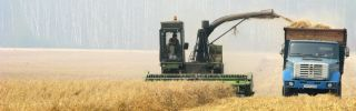 A self-propelled combine harvester on a field near a village south of Moscow on Aug. 15, 2010.