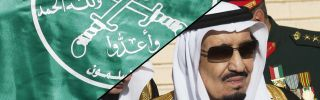 Saudi King Salman juxtaposed with the Muslim Brotherhood flag.
