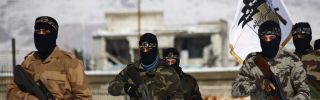 Rebel Jaish al-Islam fighters during a training session in rebel-held Eastern Ghouta outside Damascus on Jan. 11.