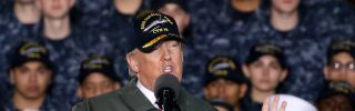 U.S. President Donald Trump (pictured speaking to U.S. Navy personnel and shipyard workers on board the USS Gerald R. Ford) is considering military options in Syria following an April 4 chemical weapons attack in Idlib province.
