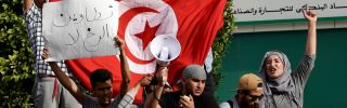 Protesters turned out May 22 in Tunis to show their support for Tunisians who held a three-month sit-in in Tataouine province demanding jobs and a share of oil and natural gas revenues for their impoverished region.