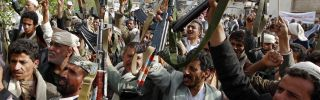 Houthi supporters rally in the Yemeni capital, Sanaa, on July 5, 2015.