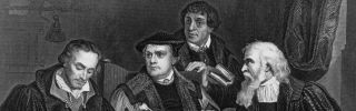 Around 1510, German theologian and reformer Martin Luther, second from the left, sits with his contemporaries.