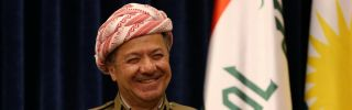 Kurdistan Regional Government President Massoud Barzani speaks during a press conference in Arbil.