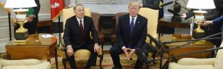 Kazakh President Nursultan Nazarbayev (left) meets with U.S. President Donald Trump during a visit to the White House on Jan. 16.