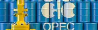 This illustration shows the OPEC logo and an oil pipeline.