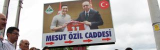 The Turkish city of Zonguldak used a photo of German soccer star Mesut Ozil posing with President Recep Tayyip Erdogan during a ceremony in which a city street was named for the footballer, who has Turkish ancestry.