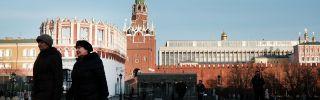 Women walk near the entrance to the Kremlin in March 2017.