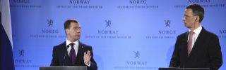 Russian President Dmitry Medvedev gestures while speaking during a press conference with Norwegian Prime Minister Jens Stoltenberg in Oslo.