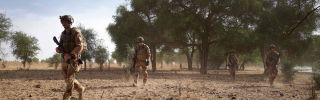 French soldiers patrol the Tofa Gala forest in northern Burkina Faso on Nov. 9, 2019.