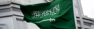 A Saudi flag flies in front of Riyadh's consulate in Istanbul on Oct. 13, 2018.