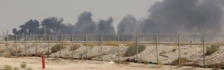 Smoke billows from one of Saudi Aramco oil facility damaged in the latest attacks on Sept. 14.