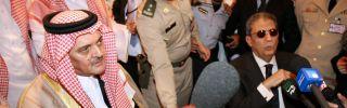 Saudi Foreign Minister Prince Saud al-Faisal and Arab League Secretary General Amr Mussa speak to the media.