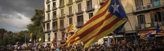 Students gather in Barcelona in support of the Catalonian independence movement, Sept. 28.
