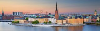 A view of Stockholm, Sweden's capital, at twilight.