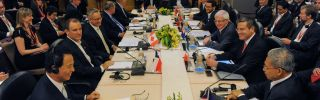 Trade ministers and representatives attend a meeting on the Trans-Pacific Partnership (TPP) in Singapore.