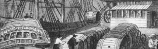 Barrels of sugar from the West Indies are unloaded from a ship at Bristol Quay, England, circa 1825.