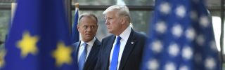 Donald Tusk (L), president of the European Council, welcomes U.S. President Donald Trump to EU headquarters in Brussels for a NATO meeting in 2017.