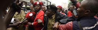 Police detain musician-turned-politician Robert Kyagulanyi Ssentamu – also known as Bobi Wine - during a demonstration on July 11, 2018, in Kampala.