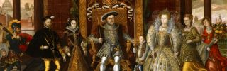"""A photograph of """"The Family of Henry VIII: An Allegory of the Tudor Succession,"""" a 16th century painting attributed to Lucas de Heere."""