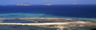 The Red Sea forms the background of this photo taken from the island of Saba in the Al-Zubair archipelago off the coast of Yemen